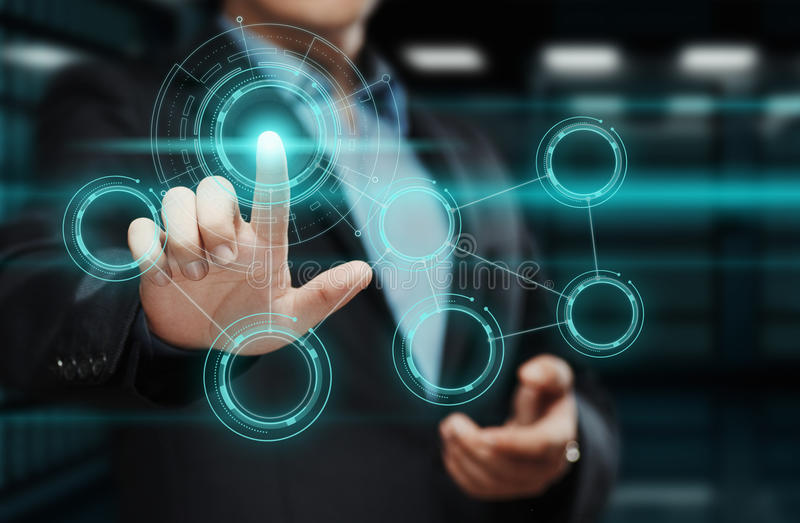 Businessman pressing button. Man pointing on futuristic interface. Innovation technology internet and business concept. Businessman pressing button on virtual stock images