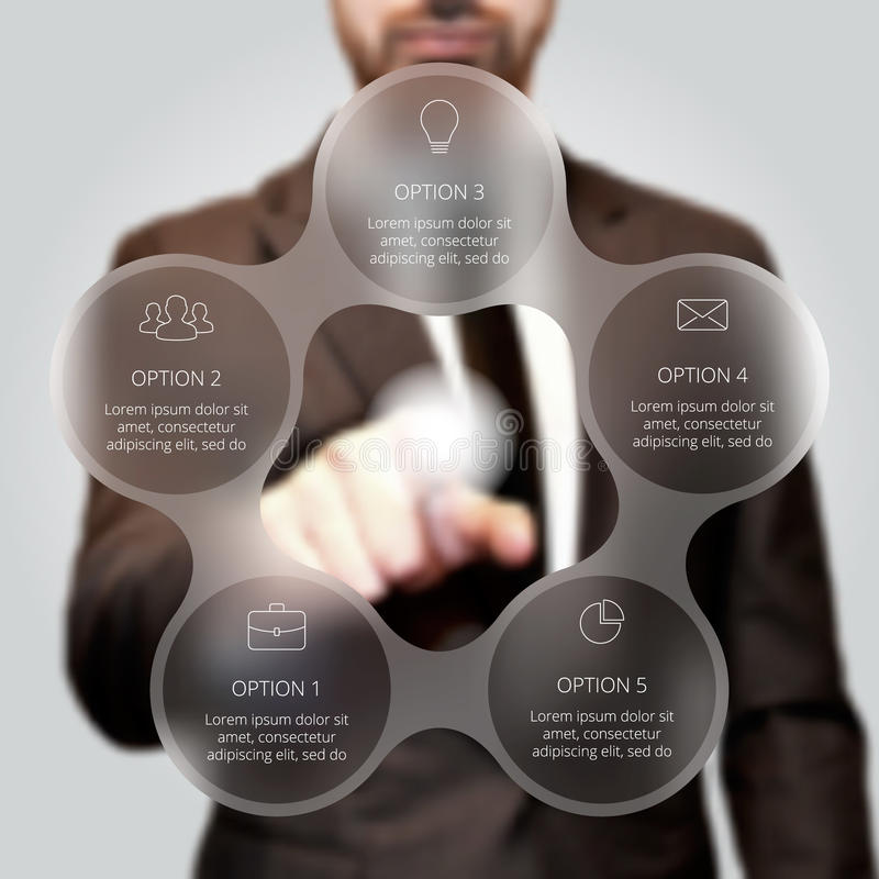 Businessman pressing button. Businessman pressing button on a virtual background. Circle line infographic. Business concept with 5 options, parts, steps or royalty free stock photo