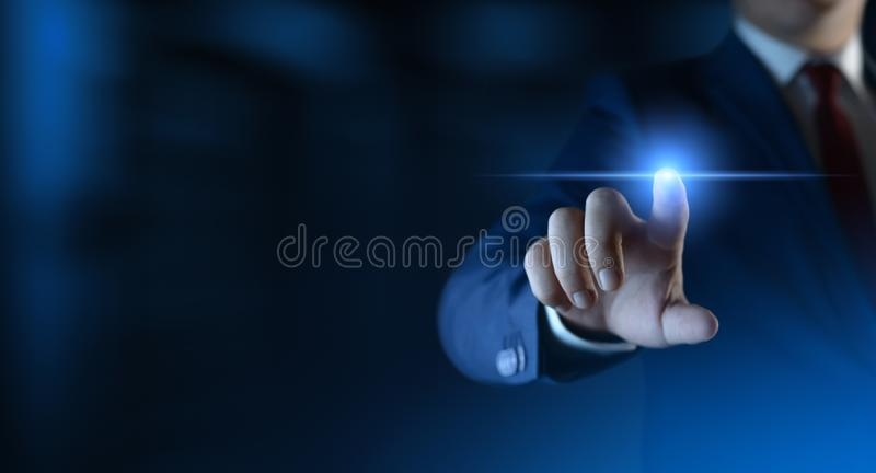 Businessman pressing button on virtual screen. Man pointing on futuristic interface. Space for text royalty free stock image