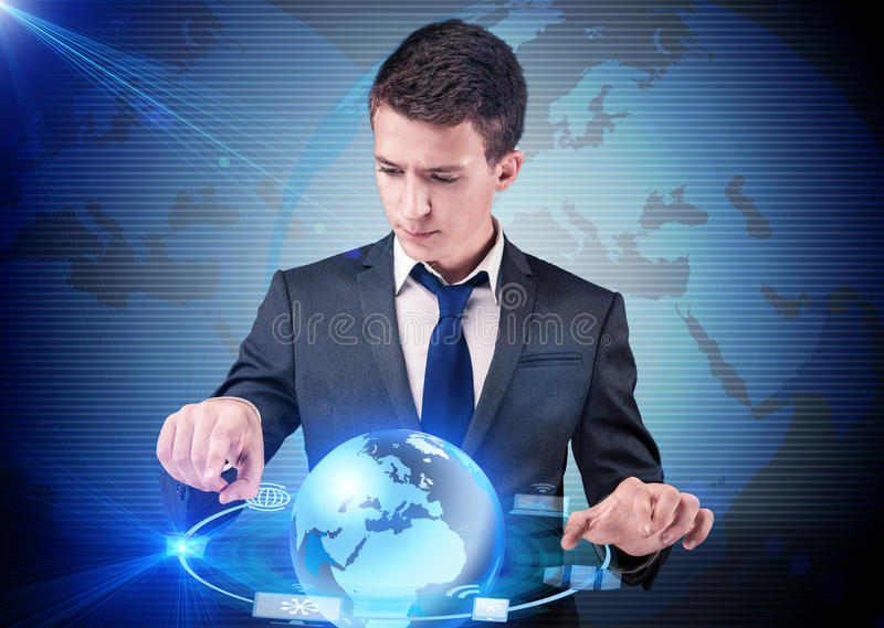 The businessman pressing buttons in computing concept stock photos