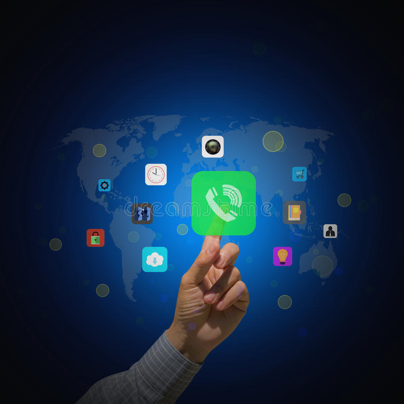 Businessman pressing colorful mobile app icons royalty free illustration