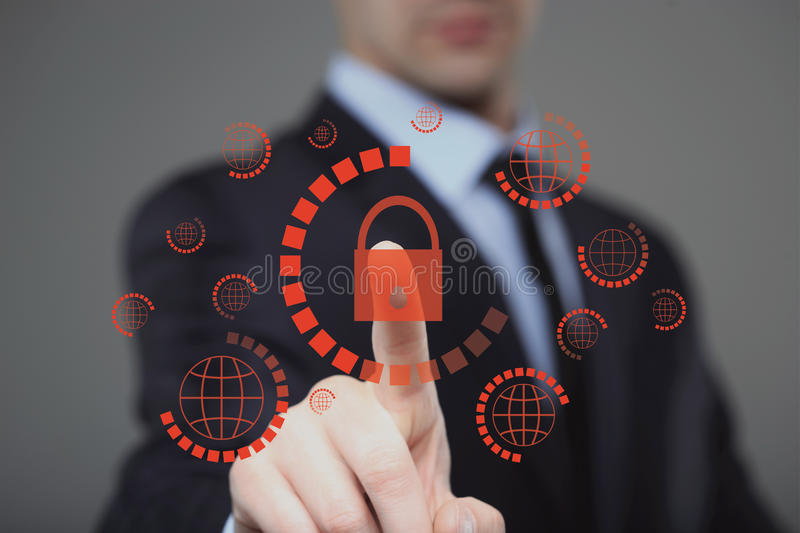 businessman pressing cyber security button on virtual screens royalty free stock images