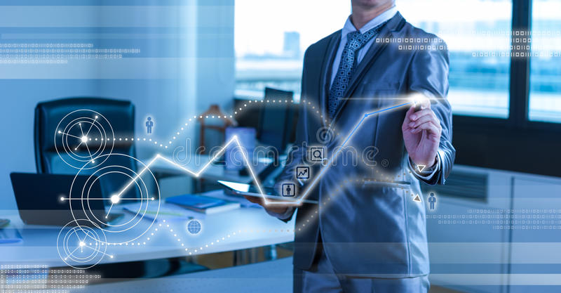 Businessman pressing on digital virtual screen royalty free stock photo