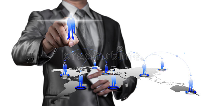 Businessman pressing on digital virtual screen, human resource m royalty free stock photo