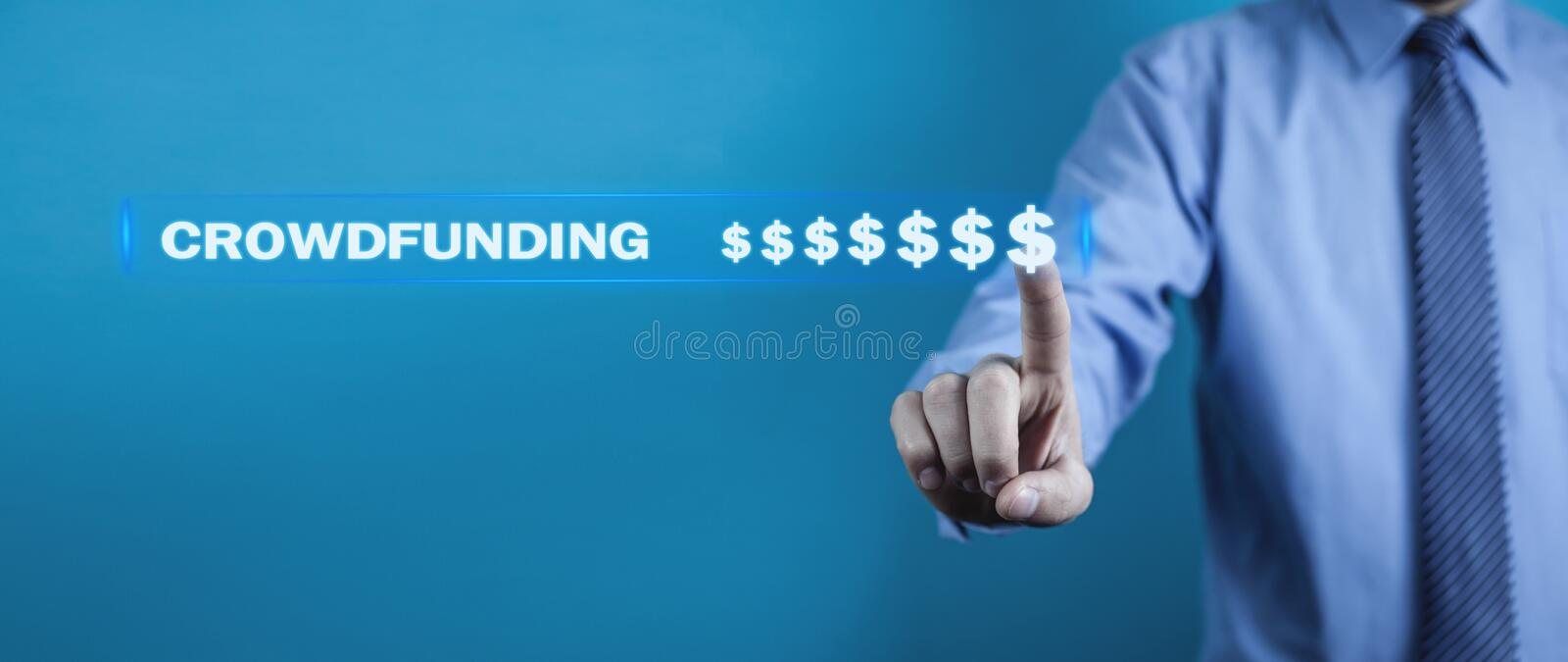 Businessman pressing dollar signs. Crowdfunding concept stock image