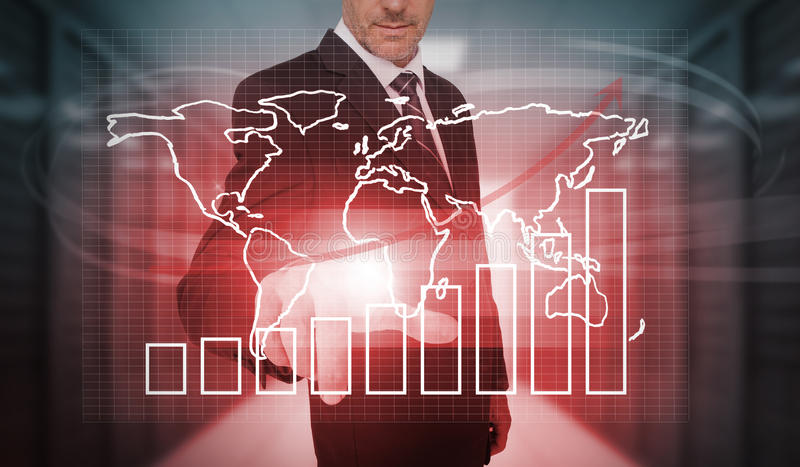 Businessman pressing futuristic chart and world map interface. In data center royalty free illustration