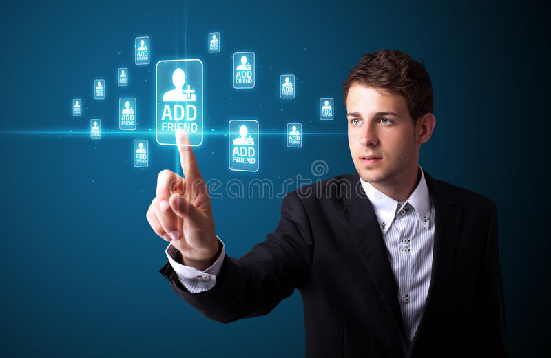 Download Businessman Pressing Modern Social Type Of Icons Stock Image - Image of icon, business: 21421135