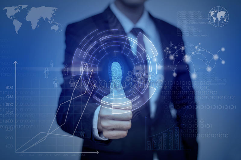 Businessman pressing modern technology panel with finger print r stock photo