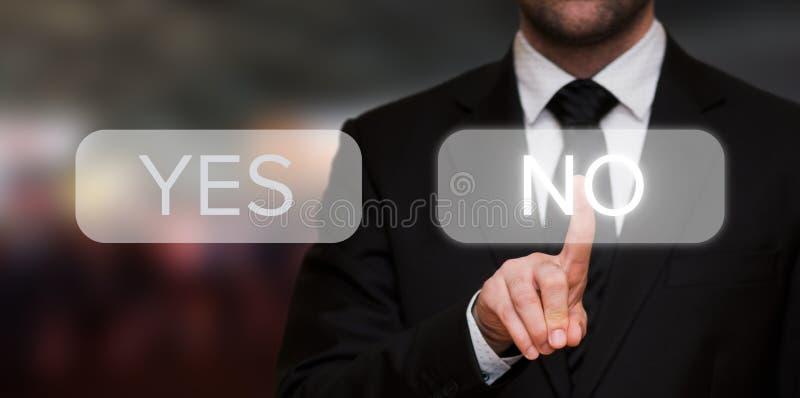 Businessman pressing No button stock photos