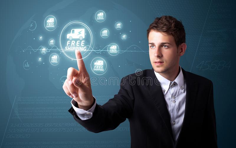 Businessman pressing virtual promotion and shipping type of icons. Businessman pressing promotion and shipping type of modern buttons royalty free stock image