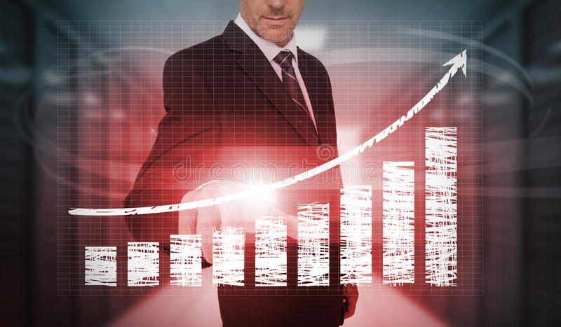 Businessman pressing red chart and arrow interface. Businessman pressing red bar chart and arrow interface in data center stock illustration