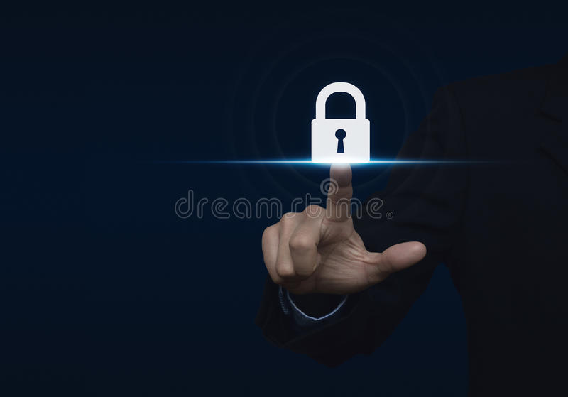 Businessman pressing security button icon, Technology information security and data encryption concept stock images