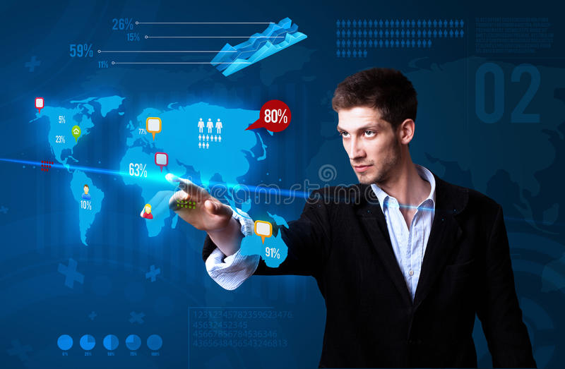 Download Businessman Pressing Social Media Button Stock Image - Image of concept, business: 20980223