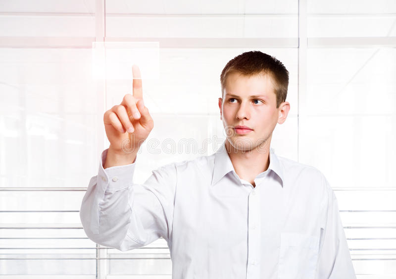 Download Businessman Pressing A Touchscreen Button Stock Image - Image: 20557781