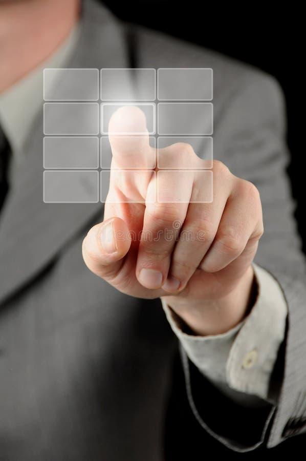 Download Businessman Pressing Virtual Button Stock Image - Image: 12795745