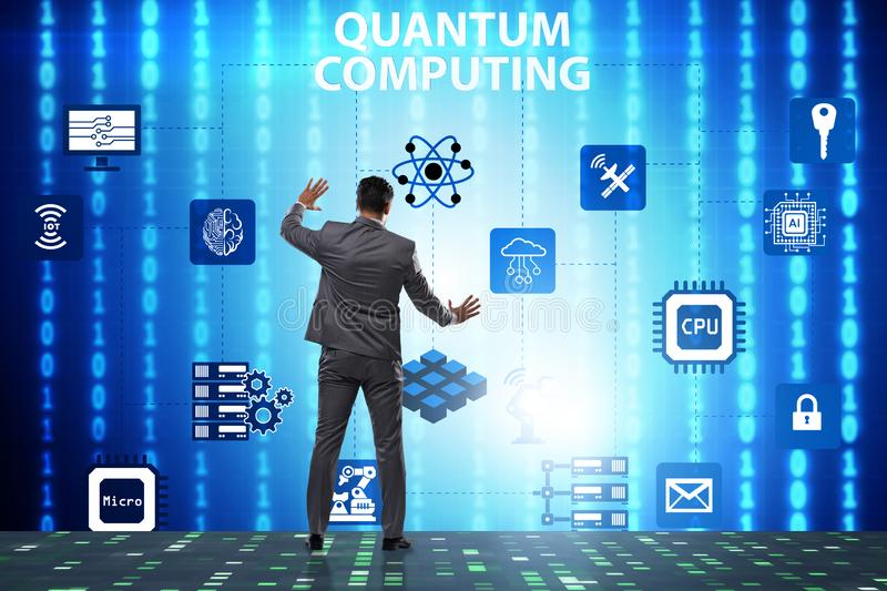 The businessman pressing virtual button in quantum computing concept. Businessman pressing virtual button in quantum computing concept stock photography