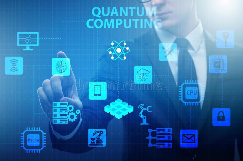 The businessman pressing virtual button in quantum computing concept. Businessman pressing virtual button in quantum computing concept royalty free stock images