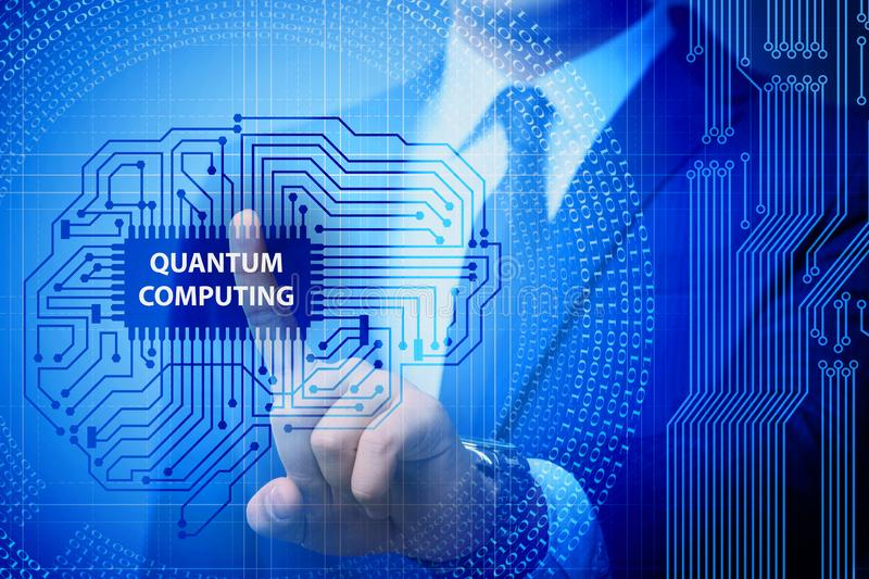 The businessman pressing virtual button in quantum computing concept. Businessman pressing virtual button in quantum computing concept stock photos