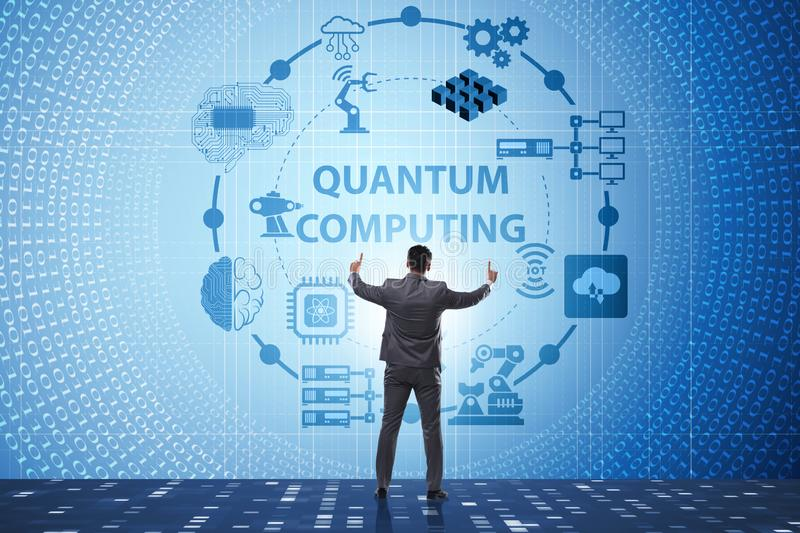 The businessman pressing virtual button in quantum computing concept. Businessman pressing virtual button in quantum computing concept royalty free stock photography