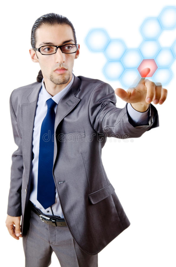 Businessman pressing virtual buttons. On white stock photo