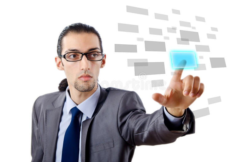 Download Businessman Pressing Virtual Buttons Stock Photo - Image: 23260108
