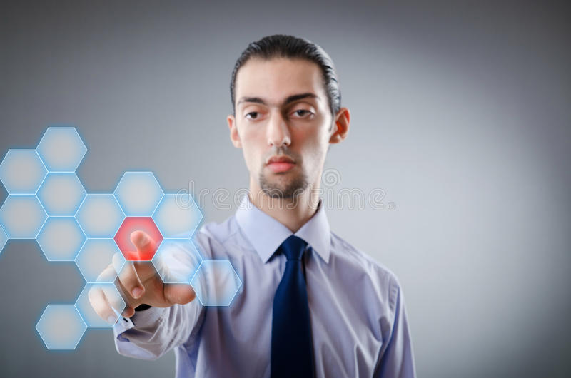 Download Businessman Pressing Virtual Buttons Stock Image - Image: 23260111