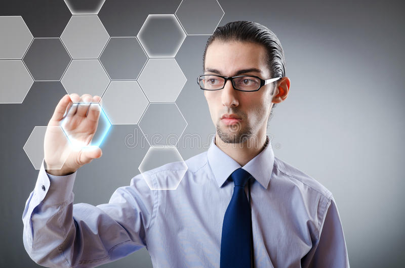 Download Businessman Pressing Virtual Buttons Stock Photo - Image: 23498490
