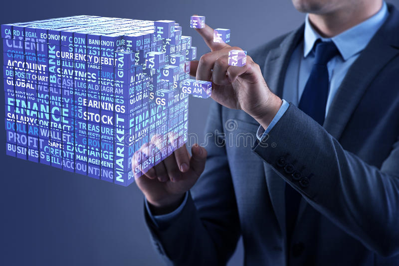 The businessman pressing virtual buttons in concept. Businessman pressing virtual buttons in concept stock images