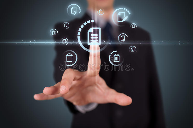 Download Businessman Pressing Virtual Media Type Of Buttons Stock Image - Image: 39963653