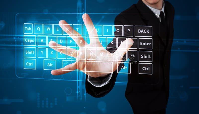 Businessman Pressing Virtual Type Of Keyboard Stock Photos
