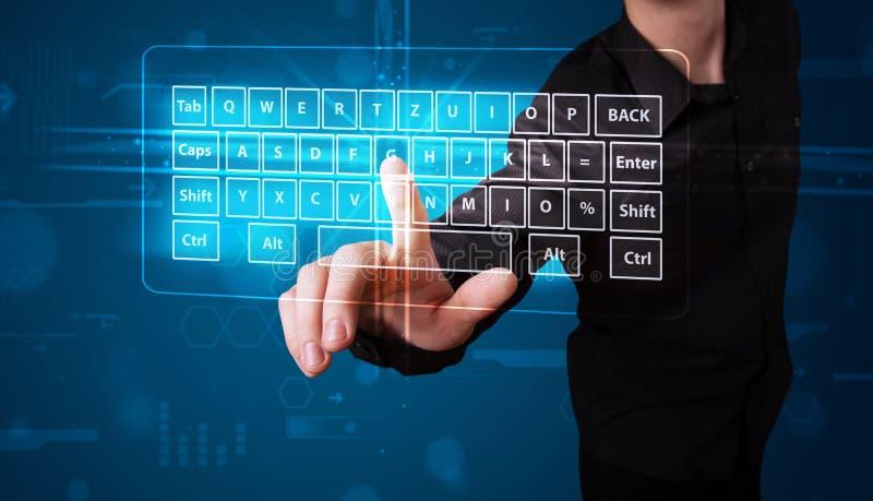 Download Businessman Pressing Virtual Type Of Keyboard Stock Illustration - Image: 39545296