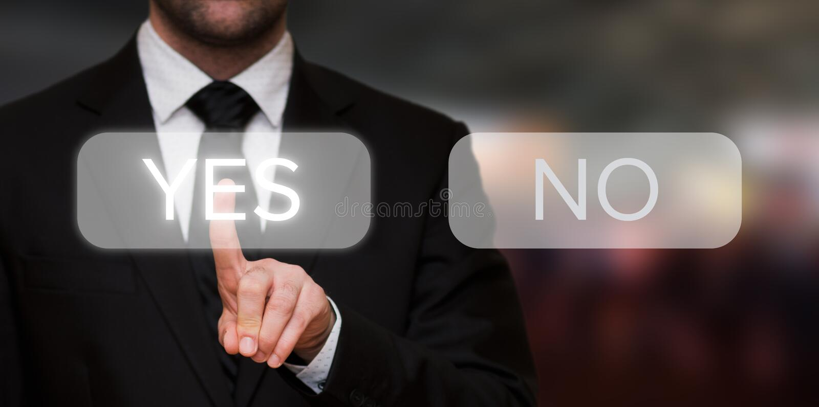 Businessman pressing yes button stock photo