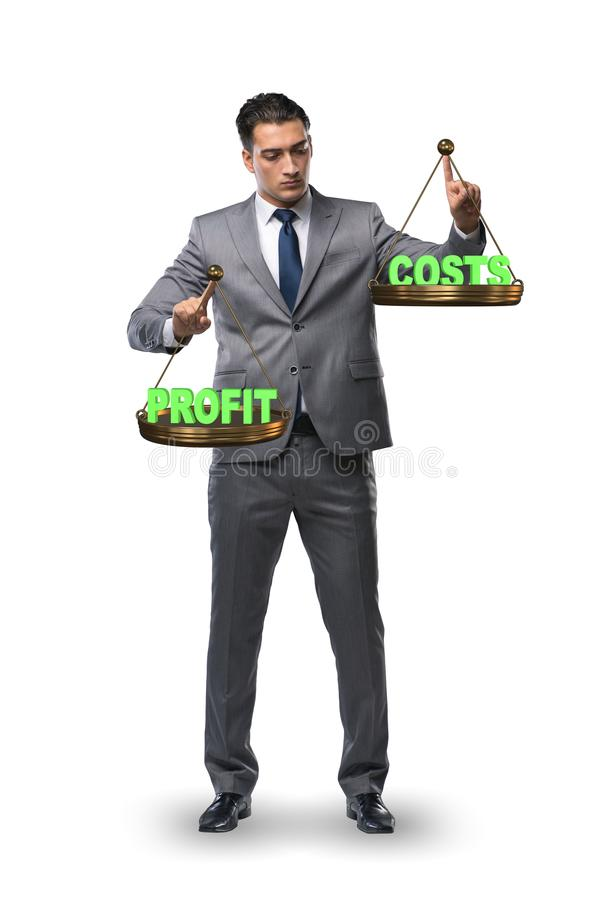 The businessman in profit benefit balance concept royalty free stock images