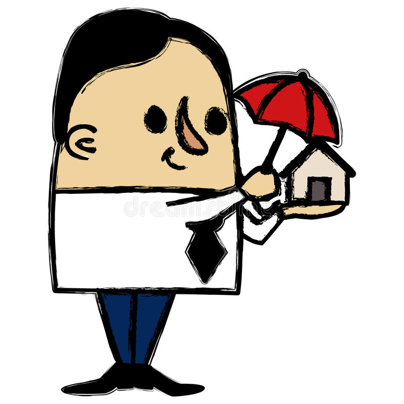 Businessman protecting a little house vector illustration