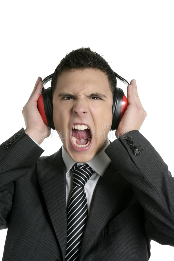 Download Businessman Protecting From Noise With Headphones Stock Photo - Image of deaf, crazy: 8524086