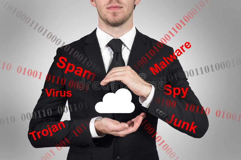 Businessman grey background protects cloud data symbol with his hands malware 3D Illustration stock photography