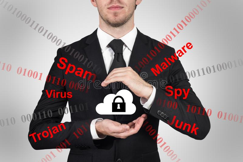 Businessman protects cloud data symbol with his hands malware stock image