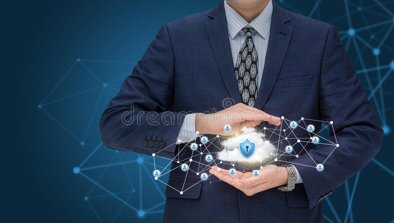 Businessman protects your data network. royalty free stock photography