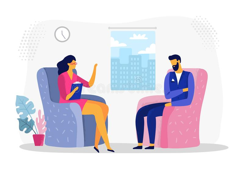 Businessman at psychotherapy session. Business worker stress, businessmen in depression and psychological therapy vector. Businessman at psychotherapy session royalty free illustration