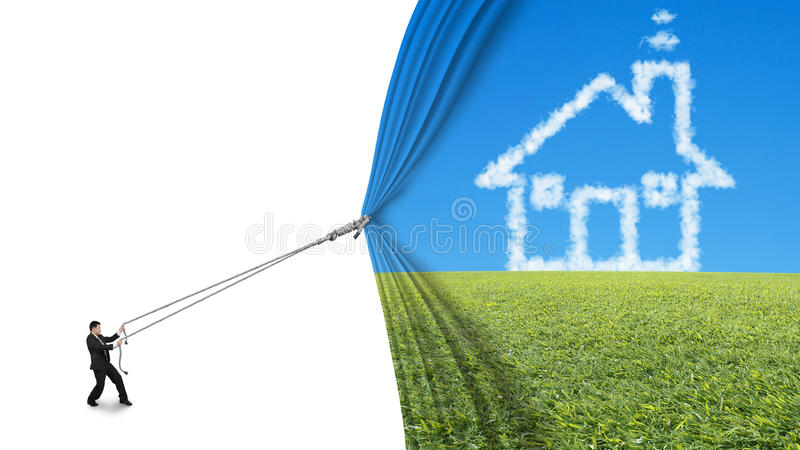 Businessman pull house shape cloud curtain covered blank white stock photo