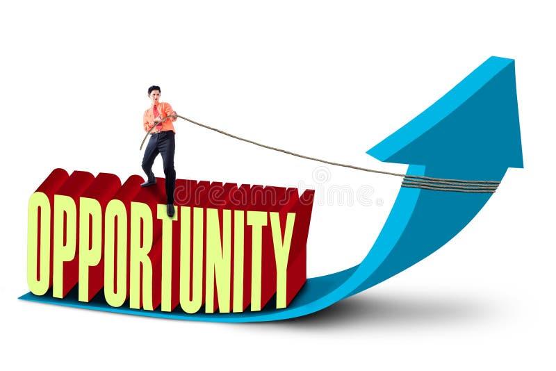 Businessman pull opportunity vector illustration