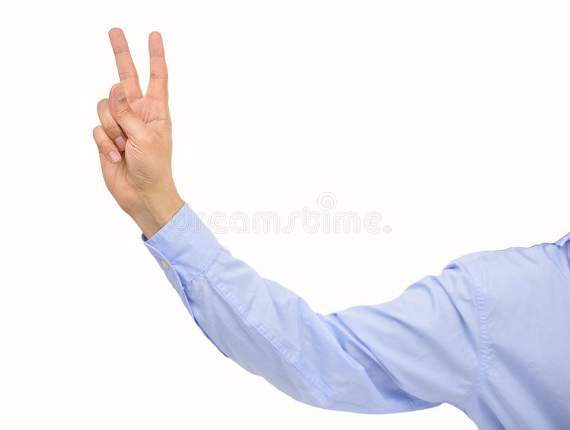 Concept of victory. Businessman pulling a bunny fingers isolated on white background stock photos