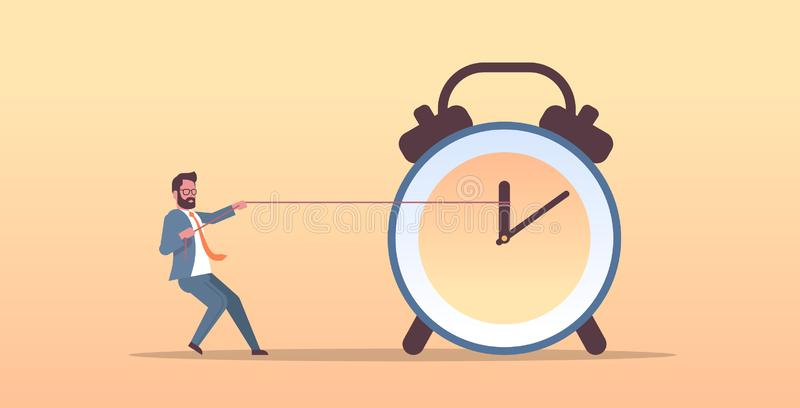 Businessman pulling clock arrow deadline time management concept business man in suit pushing back hour hand horizontal royalty free illustration