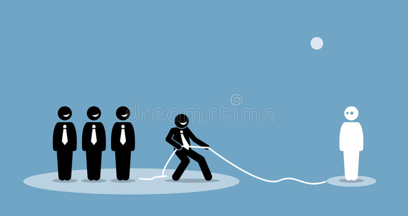 Businessman pulling connection and talent to join his company team. royalty free illustration