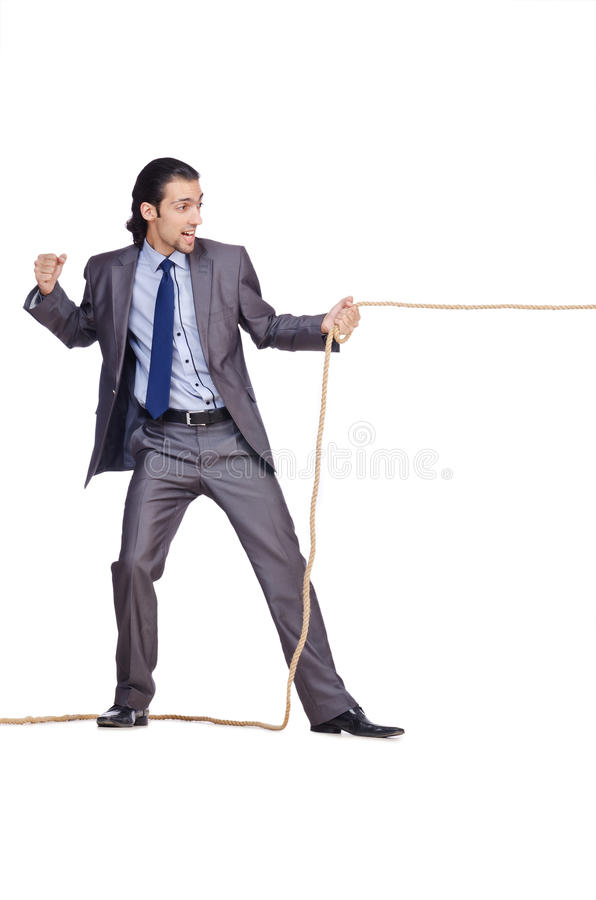 Businessman Pulling Rope Stock Images