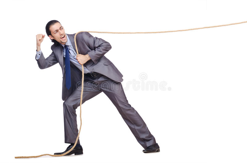 Download Businessman pulling rope stock image. Image of caucasian - 27714951