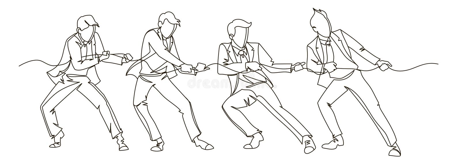 Businessman Pulling the Rope Continuous Line Art. Business Teamwork Linear Concept. Silhouette People Competition stock illustration