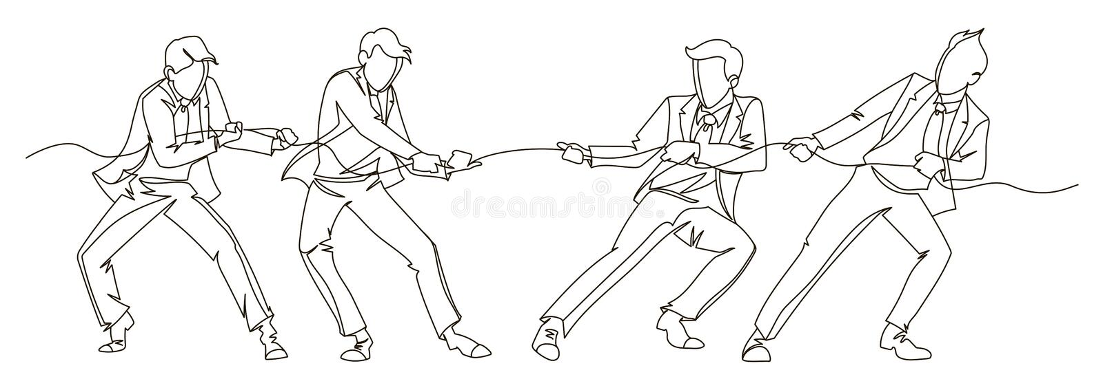 Businessman Pulling the Rope Continuous Line Art. Business Teamwork Linear Concept. Silhouette People Competition vector illustration