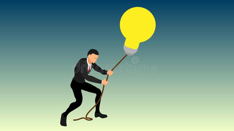 A businessman pulls a giant light bulb using a rope. interesting illustrations of ideas so that they don`t escape. get a brillian royalty free illustration