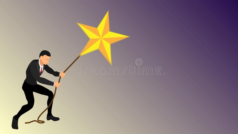 A businessman pulls a giant star using a rope. illustration of getting a symbol of achievement stars. success will. vector eps 10 royalty free illustration